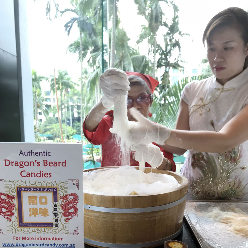 Aunty Lili and Elaine making Dragon's Beard Candy Live